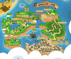 The Mushroom Kingdom 1985 - 1996. Detail of a map depicting the realms of The Mushroom Kingdom as seem in the 8-bit/16-bit Mario games, including Super Mario Bros, Super Mario Bros. 3, Super Mario World, Super Mario Kart, Super Mario RPG, and Yoshi's Island. By Bill Mudron