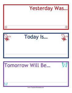 Great for early elementary calendar time, this pretty, colorful chart helps students identify today, tomorrow and yesterday. Free to download and print