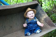 Enchanting Tractor Baby Photo Shoot with Jeans Romper and Rattan Hat Ideas