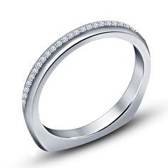 Round Cut Sim.Diamond Silver Plated Wedding & Anniversary Comfort Fit Band Ring #WeddingAnniversaryBand