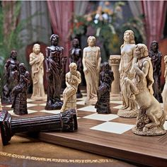 Gods of Greek Mythology Chess Set: Includes Chess Pieces & Board, Gray