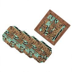 Caleb Troy Aqua Chocolate Safari Coaster Set | DENY Designs Home Accessories #denyholiday #madeinamerica #shopsmall #gift #entertain #hostess