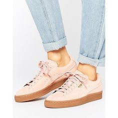 Puma Pink Suede Classic Sneakers With Gum Sole featuring polyvore, women's fashion, shoes, sneakers, pink, suede lace up shoes, laced shoes, pink trainers, suede shoes and puma footwear