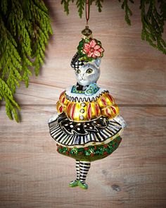 Miss Kitty Kat Christmas Ornament by MacKenzie-Childs at Neiman Marcus.