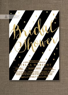 Black & Gold Bridal Shower Invitation Black and white stripes with gold glitter  by digibuddhaPaperie, $20.00