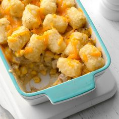 This quick and creamy Tater Tot bake is great comfort food, especially on a cold night. —Donna Donhauser, Remsen, New York Casserole Dishes, Casserole Recipes, Beef Casserole, Cream Of Onion Soup, Bean And Bacon Soup, Best Dishes, Main Dishes, Side Dishes, Cowboy Casserole