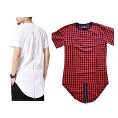 Black/White/Red Plaid XXXL  Long Back Zipper Streetwear Swag Man Hip Hop Skateboard Tyga T shirt T shirt Top Tees Men Clothing-in T-Shirts from Men's Clothing & Accessories on Aliexpress.com | Alibaba Group