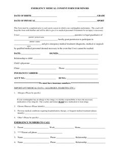 Medical Authorization Form For Children Images   Medical Consent Form For  Minors