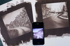 DIGITAL NEGATIVES - Two hand made salted paper prints and the original digital file on the phone that captured it.