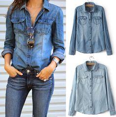 Retro Fashion Women Casual Blue Jean Denim Long Sleeve Shirt Tops Blouse Jacket #Unbranded #Blouse #Casual