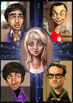 Caricature The Big Bang Theory Big Bang Theory, The Big Band Theory, Cartoon Faces, Funny Faces, Cartoon Art, Funny Caricatures, Celebrity Caricatures, Photo Repair, Caricature Drawing