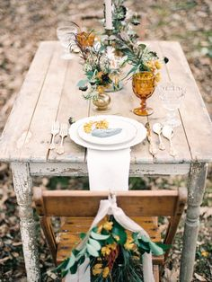 Autumn Woodland Sweetheart Wedding Tablescape // Photography ~ Live View Studios