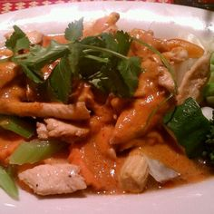 Pad Praram (Chicken and mixed vegetables (carrots, cabbage, zucchini, baby corn, mushrooms, bell peppers, broccoli and celery) in light Thai spices and peanut sauce, from Titaya's Thai Cuisine in Austin, TX