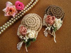 花とリボンのミニハットブローチ by suiran アクセサリー コサージュ
