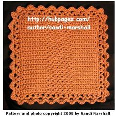 This dishcloth pattern, by Sandi Marshall, includes how-to photos. It is good practice for the crochet techniques of skipping a stitch and for crocheting in a chain space, while making a useful item for your kitchen.  ...