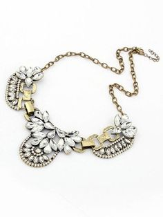 Floral Rhinestone Collar Necklace With Metal | Choies It's only $12.99 people!!!