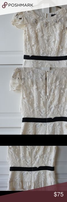 BCBG white lace dress with black ribbon waist Beautiful white lace dress with beaded collar. Perfect for bridal showers and rehearsal dinners. Black grosgrain ribbon at waist. Some slight yellowing at underarms. BCBG Dresses Mini