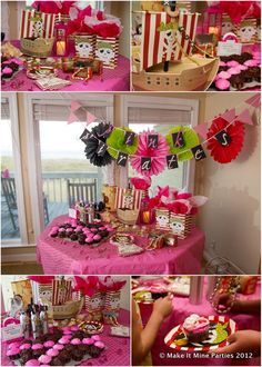 A pirate party for girls at the beach ages six to tween. Pirate bling, a treasure hunt, and cupcake decorating. Details about the party are on our blog.  #pirateparty, #girlpirateparty