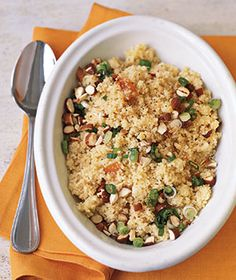 Couscous With Apricot Vinaigrette - This slightly sweet side dish goes well with pork or chicken. You can also drizzle the vinaigrette over rice or quinoa instead of couscous Couscous Dishes, Couscous Salad, Fun Cooking, Cooking Recipes, Healthy Recipes, Meal Recipes, Healthy Options, Grilling Recipes, Cooking Ideas