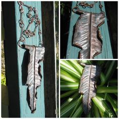 Hammered Feather / Leaf Copper Necklace Upcycled by Centsations, $175.00