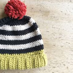 Monochrome Striped Bobble Hat 100% Cotton handmade Hat - Black + Natural + Pistachio + Vintage Red Bobble Age : 9 - 18 months by TheManchesterBee on Etsy https://www.etsy.com/uk/listing/462507028/monochrome-striped-bobble-hat-100-cotton