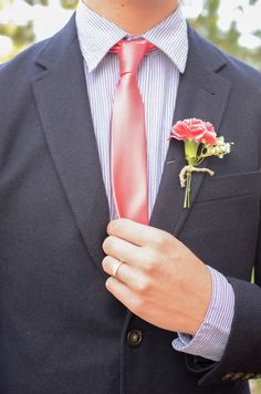 Coral and navy - groom