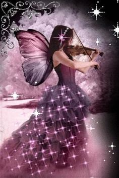Playing With Magic...#fantasy #fairy #faerie #sparkles #magic #purle #music #art #magic