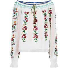 Needle & Thread Cross Stitch Floral Top (1.000 BRL) ❤ liked on Polyvore featuring tops, white top, loose tops, bohemian tops, lace top and embroidered top
