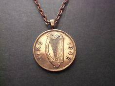 Ireland Irish Harp  Coin Necklace  1942 Eire Ireland Celtic