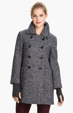 Calvin Klein Double Breasted Tweed Coat available at #Nordstrom