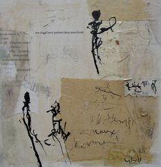 Gabriel Lalonde - do bolder human ink gestures on top of an assortment of found papers, add subtler mark making in the negative space as needed