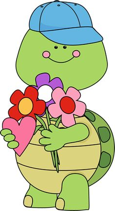 Cute Valentine's Day turtle with flowers.
