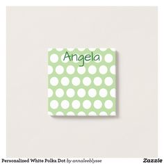 Personalized Grey and White Polka Dot Post-it Notes Text Design, Font Styles, Online Gifts, Green Colors, Grey And White, Favorite Color, Personalized Gifts, Create Your Own, Craft Projects