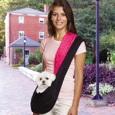 Amazon.com : East Side Collection Reversible Sling Pet Carriers - Versatile Polyester Over-the-Shoulder Carriers for Small Dogs, Brown/Pink : Soft Sided Pet Carriers : Pet Supplies