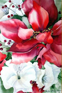 Poinsettia Christmas By Paula Wadsworth SOLD