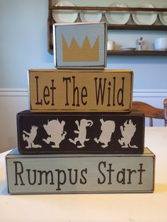 Where the wild things are nursery blocks custom playroom baby shower centerpiece stacking wood blocks primitive rustic decor