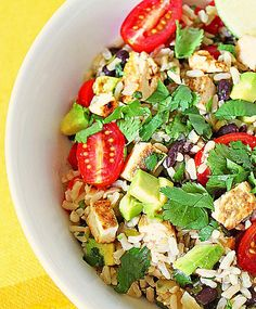 healthy mexican rice bowl with chicken