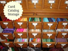 Great idea -- a vintage card catalog used for storing craft supplies.