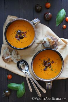 Roasted Red Bell Pepper and Heirloom Tomato Soup. Five ingredients. Easy prep. Elegant meal | Vanilla And Bean