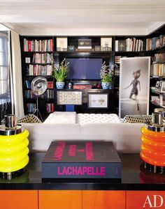 In the library of Daphne Guinness's New York apartment, which was decorated by Daniel Romualdez, black bookcases line the walls. At right is a portrait of Guinness by David LaChapelle.