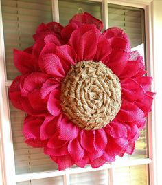 Check out this item in my Etsy shop https://www.etsy.com/listing/274199176/pink-burlap-flower-wreath