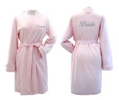 Personalised PINK Jersey Getting Ready Dressing Gown, Bridal Party Robes, Perfect for the Bride to be, Bridesmaids etc. Choose Any Text Bathrobe 👘 👘 Bridal Party Robes, Peignoir, Wedding Tags, Unique Wedding Gifts, Perfect Pink, Personalized Wedding, Wedding Styles, Marie, Dressing