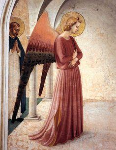 BEATO ANGELICO - Annunciazione, dettaglio Angelo - affresco - 1438-1440 - cella n. 3 - Convento-Museo N. di San Marco, Firenze