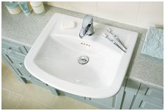 Quantum classical semi-recessed basin with della basin mixer Fitted Bathroom Furniture, Semi Recessed Basin, Basin Mixer, Sink, The Originals, Bathroom Ideas, Fitness, Ranges, Amelia