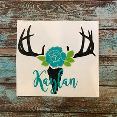 Deer Skull with Flower Rose Vinyl Decal | Deer Skull Horns | With or Without Name | Yeti Corkcicle Rtic | Car Decal by ConfettiChelle on Etsy