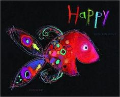 The Very Busy Kindergarten: Happy Fish Art Projectt oil pastels on black paper