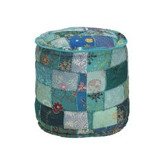 Elements Embroidered Round Pouf & Reviews | Wayfair