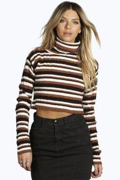 Ellie Turtle Neck Stripe Rib Knit Jumper at boohoo.com