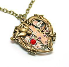Steampunk Heart Necklace | Steampunk Necklace Heart Love Takes Time Steampunk by DesignsBloom, $ ...