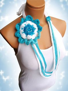Baby blue crochet necklace latest fashion gift by WomanStyleStore, $23.90